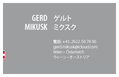 Japanese Business Card: Translation, Design, Print, Austria - id: 1682 |